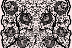 Abstract seamless black lace ribbon with feminine floral pattern. Vector illustration Stock Photo