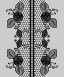 Abstract seamless black lace ribbon with floral pattern. Stock Photo