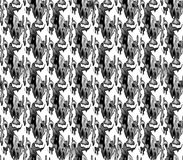 Abstract seamless black and white and gray spots and lines around the figure Royalty Free Stock Image