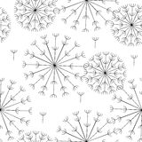 Abstract seamless black and white pattern of dandelions. Vector abstract seamless black and white pattern of dandelions Stock Photos
