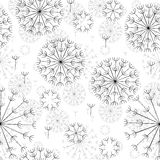 Abstract seamless black and white pattern of dandelions. Vector abstract seamless black and white pattern of dandelions Royalty Free Stock Image