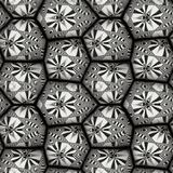 Abstract seamless black and white pattern of stones. Ornamental retro seamless pattern with abstract motifs and stars Royalty Free Illustration
