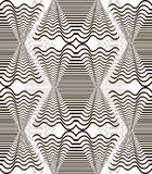 Abstract seamless black and white pattern of wavy shapes Stock Images