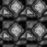 Abstract seamless black and white retro pattern with contour lines Royalty Free Stock Photo