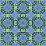 Abstract seamless blue green ornamental kaleidoscopic mosaic pattern Stock Images