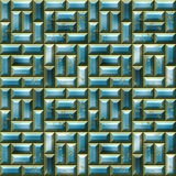 Abstract seamless blue pattern with 3d mosaic. Blue and gold seamless generated texture Stock Illustration