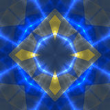 Abstract seamless blue pattern with glowing lines and gold metal arrows Royalty Free Stock Image