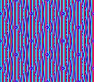 Abstract seamless blue and red lines and squares. Abstract seamless strips and small squares of blue and red lined in rows to form a continuous pattern Stock Images