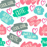 Abstract seamless chaotic pattern with text super star, little princess, cute. Grunge neon texture background. Wallpaper for boys Royalty Free Stock Images