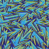 Abstract seamless chaotic pattern with urban geometric elements. Grunge neon texture background. Wallpaper for boys and Stock Image