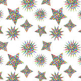 Abstract seamless chaotic pattern with urban star elements. Grunge neon texture background. Wallpaper for boys and girls. Abstract seamless chaotic pattern with Royalty Free Stock Images