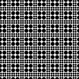 Abstract seamless checkered pattern from circles of different sizes. Simple black and white geometric texture. Vector. Abstract seamless checkered pattern from Stock Photography