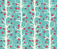 Abstract Seamless Christmas Winter Pattern with Berries on Trees Royalty Free Stock Images