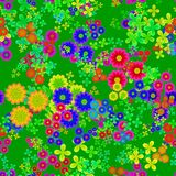 Abstract seamless colorful floral pattern, Multicolor flowers on green background, Blooms in rainbow colors, Petal texture. Abstract colorful floral pattern Royalty Free Stock Photography