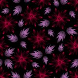 Abstract Seamless Composition with Red Flowers and Lilac Leaves on a Black. Beautiful vivid background