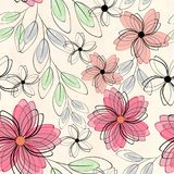 Abstract seamless cute floral pattern. red, orange flowers on a light background. Abstract seamless cute floral pattern.Bright red, orange flowers on a light Royalty Free Stock Photo