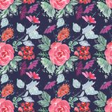 Abstract seamless cute floral pattern. red, lilac flowers on dark blue background. Abstract seamless cute floral pattern.Bright red, lilac flowers on dark blue Royalty Free Stock Photos