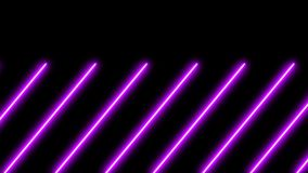 Abstract seamless 3d lines background. Blue purple looped animation fluorescent ultraviolet light glowing neon strokes.