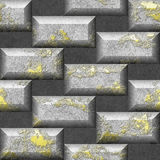 Abstract seamless 3d mosaic pattern of scratched gold and silver rectangular bricks. Mosaic seamless pattern with grained bricks on a gray background stock illustration