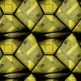 Abstract seamless 3d pattern of gold grained stones with black contour lines. Seamless stone background with geometric pattern of black lines royalty free illustration