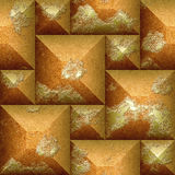 Abstract seamless 3d pattern of orange and gold scratched beveled cubes Stock Photo