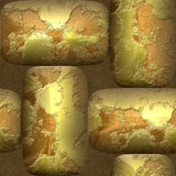 Abstract seamless 3d pattern of round gold nuggets Royalty Free Stock Photo
