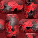 Abstract seamless 3d pattern of round red nuggets. Mosaic tiled pattern of scratched red and black bars on a grained red background Stock Images