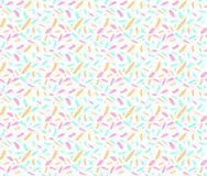 Abstract seamless ditsy pattern with pink, blue and yellow random spots and marks on white background. vector illustration