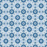 Abstract seamless fabric blue lace pattern on white Stock Image