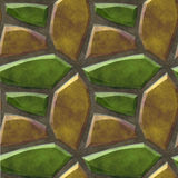 Abstract seamless floor pattern with green and gold sharp stones Royalty Free Stock Photography