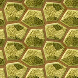 Abstract seamless floor pattern of stones with gold and green marble structure. Polygonal gold and green sharp stones on earthy background Royalty Free Stock Photo