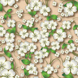 Abstract seamless floral background with spring ornament on beig Royalty Free Stock Image