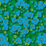 Abstract seamless floral background with spring ornament. Abstract seamless green floral background with blue spring ornament Stock Photography