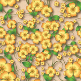Abstract seamless floral background with spring ornament. Abstract seamless background with yellow spring floral ornament on beige Stock Photography