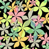 Abstract seamless floral black pattern. With translucent flowers stock illustration