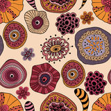 Abstract Seamless  Floral Composition. Abstract seamless floral composition with doodle funky flowers Stock Images