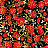 Abstract seamless floral ornament on black background Royalty Free Stock Images