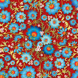 Abstract seamless floral ornament. With blue flowers on red background Stock Images