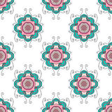 Abstract seamless with floral ornament. In bright colors Stock Photography