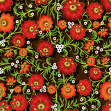 Abstract seamless floral ornament with flowers on brown backgrou Stock Images