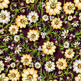 Abstract seamless floral ornament with flowers on brown backgrou Royalty Free Stock Photography