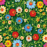 Abstract seamless floral ornament with flowers on green backgrou Royalty Free Stock Images