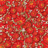 Abstract seamless floral ornament. And shadow on red background Stock Photo