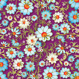 Abstract seamless floral ornament with spring flowers. On purple background Stock Photos