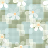 Abstract seamless floral pattern on checkered background Royalty Free Stock Images