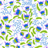 Abstract seamless floral pattern in a doodle style, vector decor Stock Photo