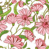Abstract seamless floral pattern in a doodle style Royalty Free Stock Images