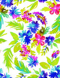 Abstract seamless floral pattern. Seamless floral pattern. free from flowers in vibrant colors in allover composition on white background. summer look, vibrant Stock Images