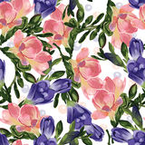 Abstract seamless floral pattern with pink and blue freesia. Vector background Stock Photos