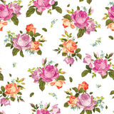 Abstract seamless floral pattern with pink and orange roses on w Stock Photography